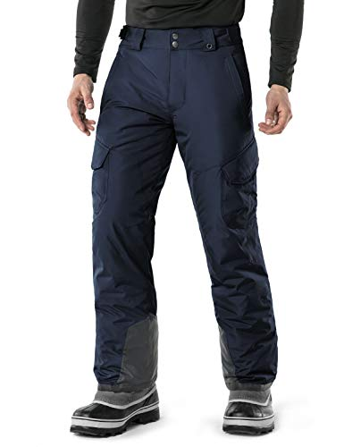 TSLA Men's Rip-Stop Snow Pants Windproof Ski Insulated Water-Repel Bottoms, Snow Cargo(ykb83) - Navy, Small (Waist 28.5-30 Inch)