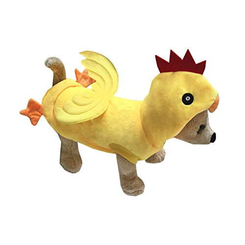 Mogoko Funny Dog Chicken Costume, Pet Halloween Christmas Rooster Cosplay Dress, Adorable Cat Apparel Animal Warm Outfits Clothes(XL Size, Yellow)
