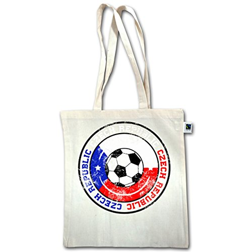Fußball - Czech Republic Kreis & Fußball Vintage - Unisize - Natural - XT600 - Jutebeutel lange Henkel wb0EMChGZK