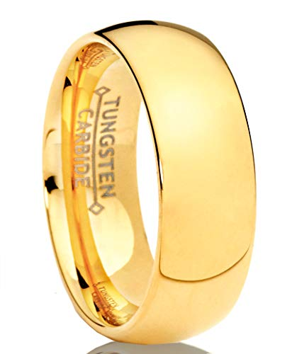 Metal Masters Co. 7MM Goldtone Plated Dome Tungsten Ring Wedding Band Sizes 6 to 13