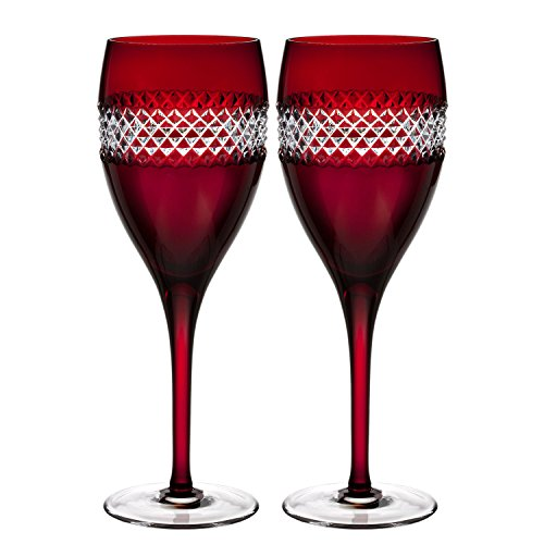 Waterford John Rocha Red Cut Wine, Pair by Waterford