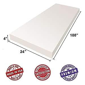 Dream Solutions USA - Cojín de espuma para tapicería, 4 x 24 x 108 pulgadas, densidad regular, suave calidad de lujo, bueno para cojines de silla, cojines de sofá, mesas de póquer y mucho más