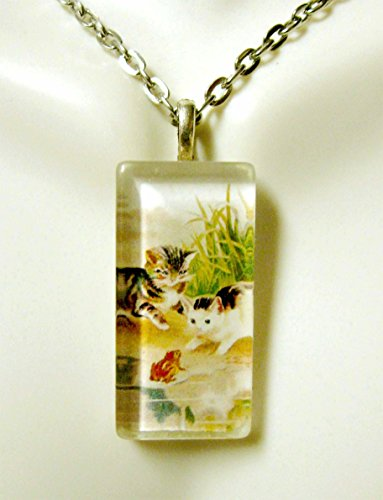 Kittens meet a frog tassel pendant and chain - CGP12-114