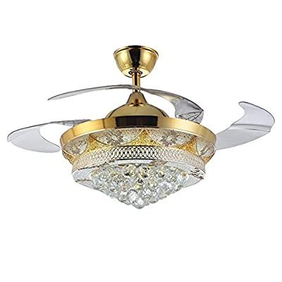 Siminda Fan Lights Crystal Led Modern Fan Chandeliers Simple Invisible Ceiling Fan Home Lighting Bedroom Living Room Bedroom Lamp Restaurant Remote Control 42 inch