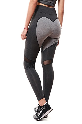 APTERA Womens High Waist Leggings Color Contrast Tights Full Length with Mesh Panels for Yoga Jogging Workout - Dark Gray, L