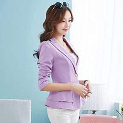 Slim 88 Lunga Bobo Donna Giubotto Button Manica Bavero Giaccone Di Violett Da Moda Blazer Fit Colore Con Autunno Tailleur Puro Volant Giacca wIwqTZd4F