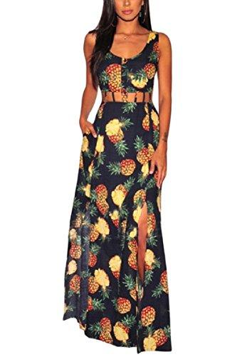 Printed Split Women Flower Dress Yellow Sexy Bohemian Sleeveless Coolred Long wXTxqOgwC