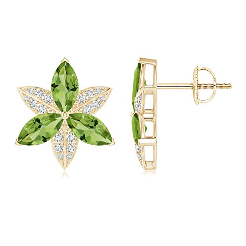 - Peridot and Diamond Trillium Flower Stud Earrings in 14K Yellow Gold (8x4mm Peridot)