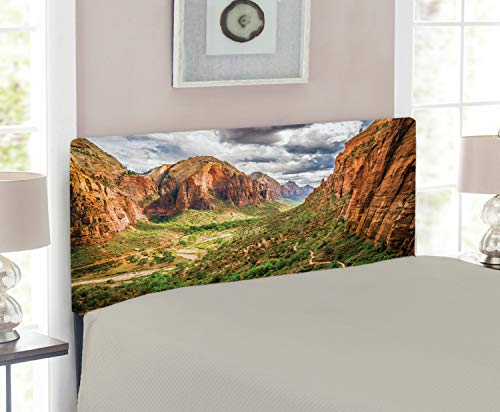 Lunarable National Parks Headboard for Twin Size Bed, Utah Plateau Mojave Desert Southwest Erosion Native Aztec Artistic Print, Upholstered Decorative Metal Headboard with Memory Foam, Brown Green ()