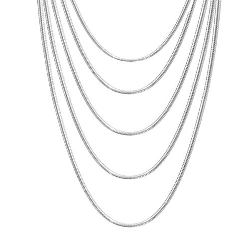 "20 PCS Silver Plated Snake Chain with Lobster Clasps for DIY Jewelry Making and Necklace Chain Replace(4PCS 16"",4PCS 18"",4PCS 20"",4PCS 22"",4PCS 24"" inch, 1.2mm) -Promotion Price"