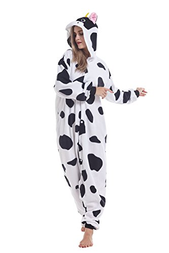 COCOPLAY Unisex Adult Halloween Milk Cow Onesie Pajamas Anime Costumes Cosplay Sleepwear (Womens Cow Costume)