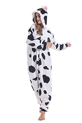 Sqlszt Women Men Adult Animal Cow One Piece Onesie Cosplay Pajama Costume S]()