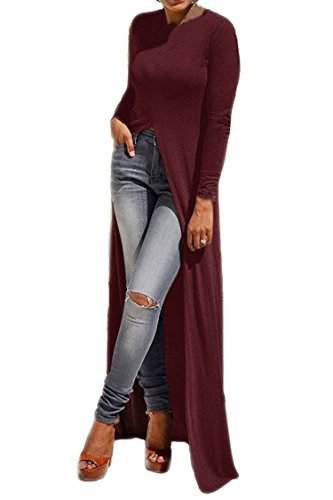 (Women Fashion Plus Size Long Sleeve High Neck Irregular Long Split Dress Top XXXL Wine)
