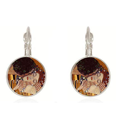 Classic Gustav Klimt The Kiss Painting Earrings Jewelry Vintage 18mm Round Glass Dome Earings for Women Jewelry Drop Shipping