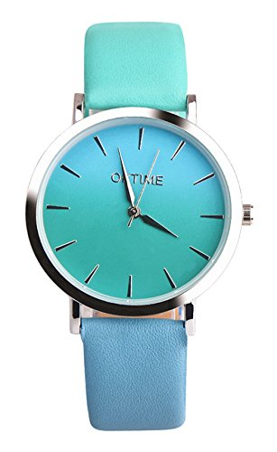 Women Rainbow Watches COOKI Clearance Female Watches on Sale Lady Watches Cheap Watches Leather Watch-H15 (Blue2)