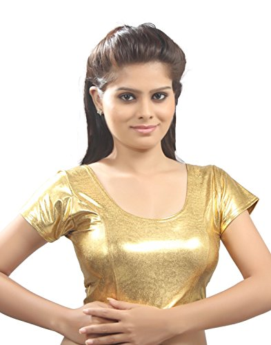 Gold Shimmer Designer Sari Choli Ready-made Saree Blouse - A-9I - Xlarge (Ready Made Designer Saree Blouses compare prices)