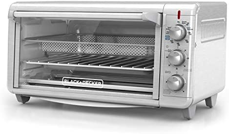 "Black+Decker TO3265XSSD Extra Wide Crisp 'N Bake Air Fry Toaster Oven, Silver, Fits 9"" x 13"" Pan"