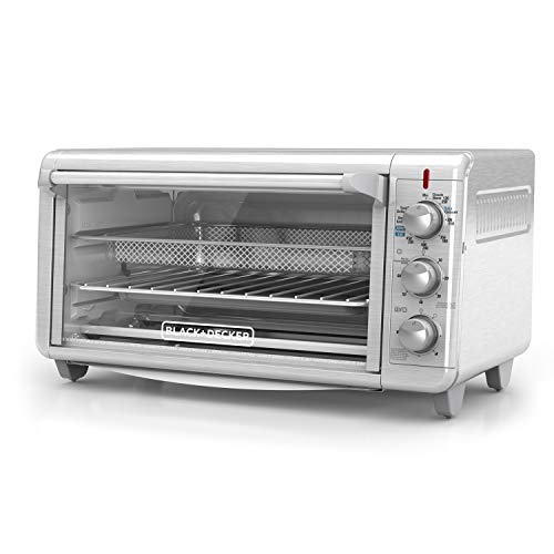 BLACK+DECKER TO3265XSSD Extra Wide Crisp 'N Bake Air Fry Toaster Oven Fits 9″ x 13″ Pan Silver