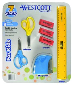 Westcott 7-Pc. School Set - 2 Scissors, 1 Ruler, 1 Sharpener, 3 Erasers Ages 4+