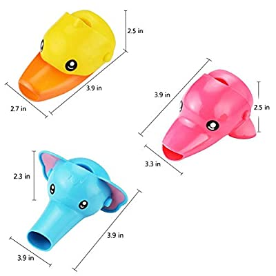 RafaLife Bath Toys - 3Pcs Cartoon Faucet Extender for Babies,Toddlers & Children,Three Animal Spout Extenders for Sink Faucets, Promotes Hand Washing in Children (Set of 3, Elephant, Duck & Dolphin)