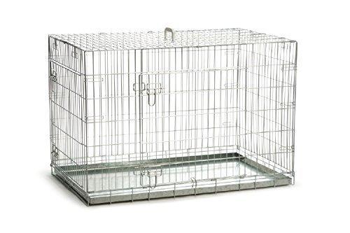 Riesige Gitterbox Hundebox 2 Türen verzinkt klappbar 109x69x75 cm Transportbox Hunde Zwinger