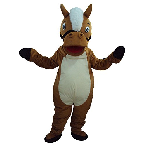 Brown Horse Mascot Costume Cartoon Halloween Party Dress Adult Size -