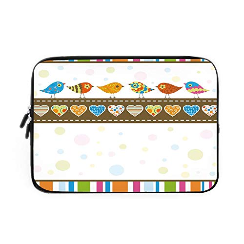 Valentines Day Decor Laptop Sleeve Bag,Neoprene Sleeve Case/Cute Chubby Birds with Colored Hearts and Stripes Abstract Dots Image/for Apple MacBook Air Samsung Google Acer HP DELL Lenovo Asus