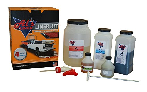 Al's Liner ALS-TAN Tan Premium DIY Polyurethane Spray-On Truck Bed Liner Kit, with Free Adhesion Promoter and Small Mix Paddle, Great for Rocker Panels, Bed Rails, and Full Vehicle Sprays - 1 Gallon (Best Diy Spray In Bedliner)