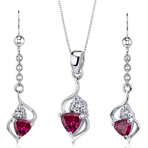 (Created Ruby Pendant Earrings Necklace Set Sterling Silver Trillion Cut 2.25 Carats)