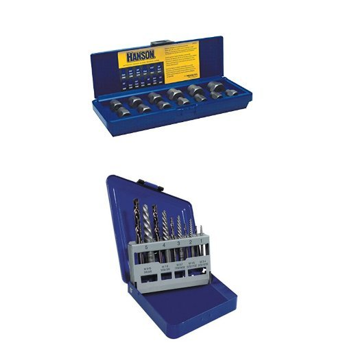 IRWIN HANSON Professional's Industrial Bolt Extractor Set and Spiral Extractor and Drill Bit Set (Professional Bolt)