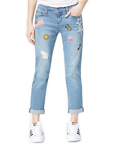 Earl Jean Women's Destructed Patched Boyfriend Jeans (Blue, 10) by Earl Jean