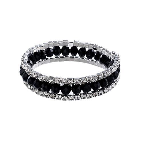 (Sinfu Women's Multi-Layer Crystal Diamond Bracelet Jewelry Multi-Color Crystal Geometric Beads Connected Bracelet Bangle for Girls- Gift (Black))