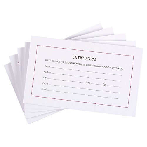 (500 Entry Forms - 5 Pads with 100 Sheets Per Pad - Entry Cards for Contests, Raffles, Ballots, Drawings, 6.2 x 3.7 Inches)