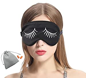 MSSilk Sleep Eye Mask- Smoothing Mulberry Silk- Adjustable Elastic Strap- Lightweight- with A Bonus Pair of Earplug in a Carry Pouch (White Eyelashes)