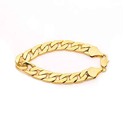 Lifetime Jewelry Cuban Link Bracelet 11mm, Flat Wide, 24K Gold Over Semi-Precious Metals, Fashion Jewelry, 24K Overlay, Thick Layers Help Resist Tarnishing, 8-10 Inches from Lifetime Products Group