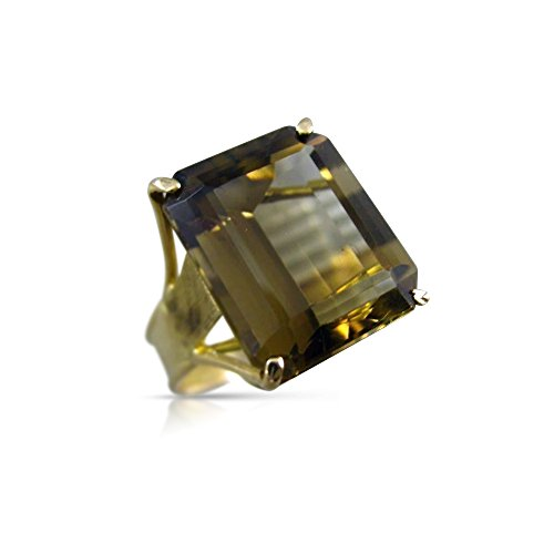 Milano Jewelers LARGE 9.0CT AAA SMOKEY TOPAZ 14KT YELLOW GOLD 3D SOLITAIRE RING #26343 ()