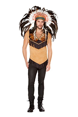 1 PC Native American Chief Tan Fringe Feather Shirt Party Costume]()