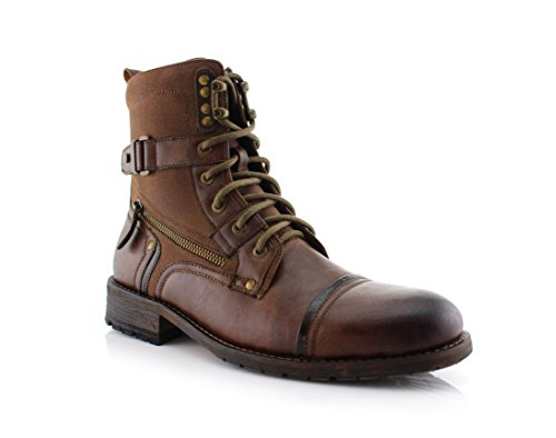 Men Hiking Leather Boot (Polar Fox MPX808585 Mens Combat Ankle Boots Antique Finsh Brown 11)