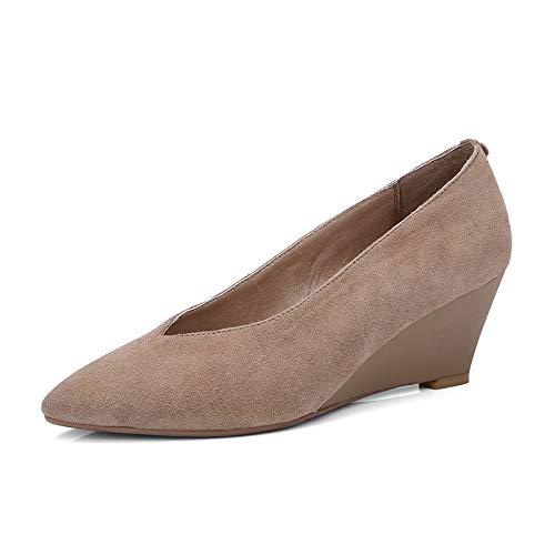 Zapatos 2018 Cuña Suede Khaki Hoesczs Conciso Natural De Calzado Primavera Altas Slip Mujer on Otoño Mujeres Marca Bombas Informal PHdHO