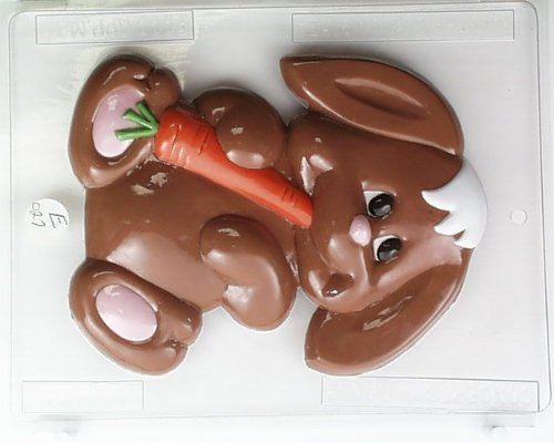 Large Bunny Chocolate Mold (Large cute bunny munching on a carrot E027 Easter Chocolate Candy Mold)