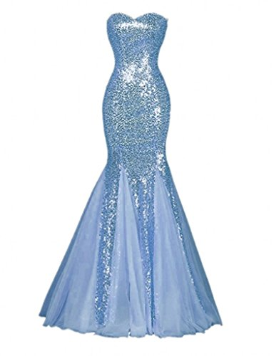Winnie Bride Sparkly Sequins Evening Prom Ball Gown Mermaid Long Formal Dress-14-Light Blue (Light Blue Mermaid Dress compare prices)