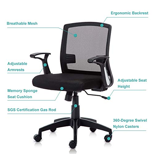 Kerms Ergonomic Adjustable Swivel Office Chair with Lumbar Support and Rollerblade Wheels-Mid Back with Breathable Mesh-Thick Seat Cushion-Adjustable Armrest, Desk Chair Black