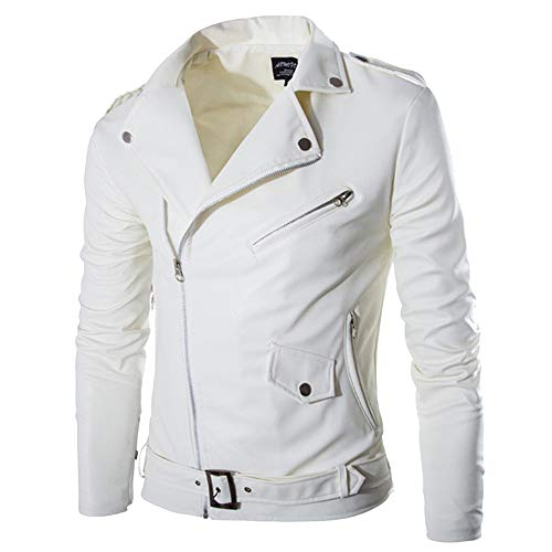 Leather Design White - Allywit Men's White Design PU Leather Motorcycle Jacket Zipper Biker Jacket Coat