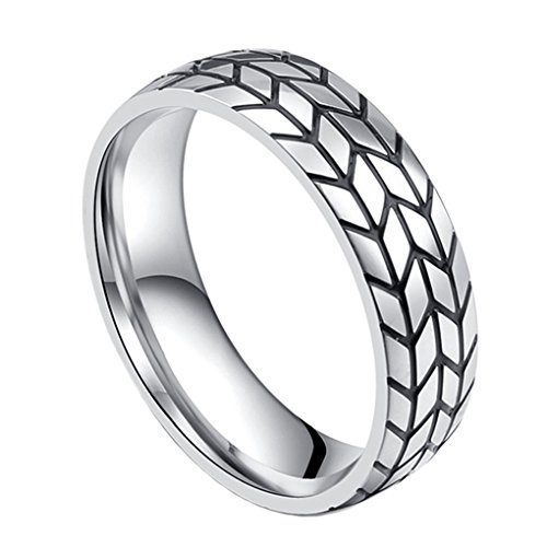 Hijones Mens Stainless Steel Tire Tread Style Grooved Biker Ring Silver Size 8