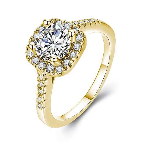 UFOORO Eternal Love Women's 18K Gold Plated CZ Crystal Engagement Rings Best Promise Rings Anniversary for Lady Girl (White-G, 10)