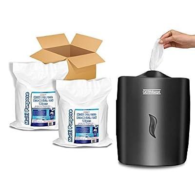 Image of GERMISEPT WALL MOUNT DISPENSER + 2 800 CT ROLLS COMBO - Multipurpose Gym Wipes & Wellness Center Cleaning Wipes/Cart Wipes (Dispenser + 2 Rolls) Health and Household