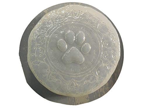 (Small Dog Cat Paw Print Memorial Stepping Stone Concrete or Plaster Mold 7248)