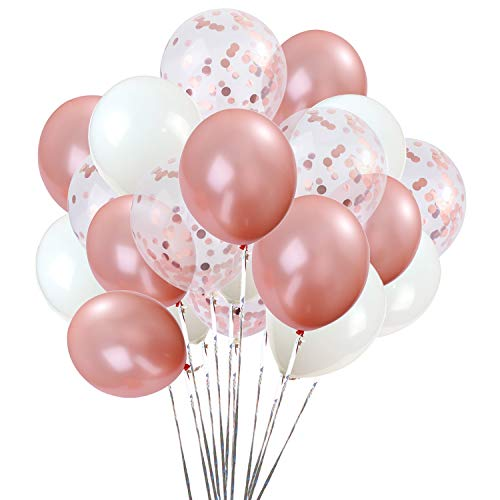 Rose Gold Balloons and Confetti Balloons 12inch 65Pcs Latex Party Balloons Helium Balloons Party Decoration Balloons Compatible Birthday Baby Shower Party - Rose Gold,White,Confetti Balloons By Brontothere -