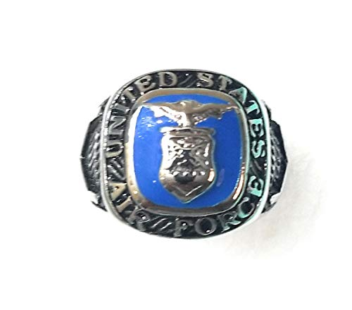 United States Air Force Ring, Men's Stainless Steel Silver and Navy, Army, National Guard Rings