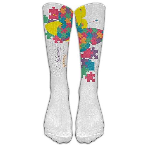 265063eb4956e Unisex Knee High Long Socks Autism Awareness Rainbow Puzzle Butterfly Boot High  Socks ZHONGJIAN